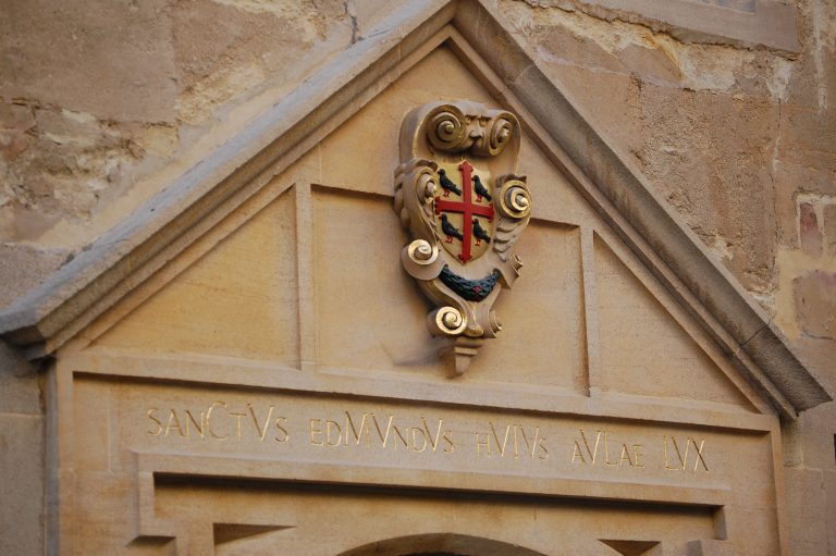 The entrance of St Edmund Hall with the inscription of Saint Edmund, Light of this Hall