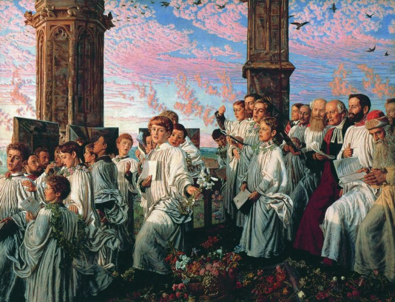 Holman Hunt May Morning on Magdalen Tower