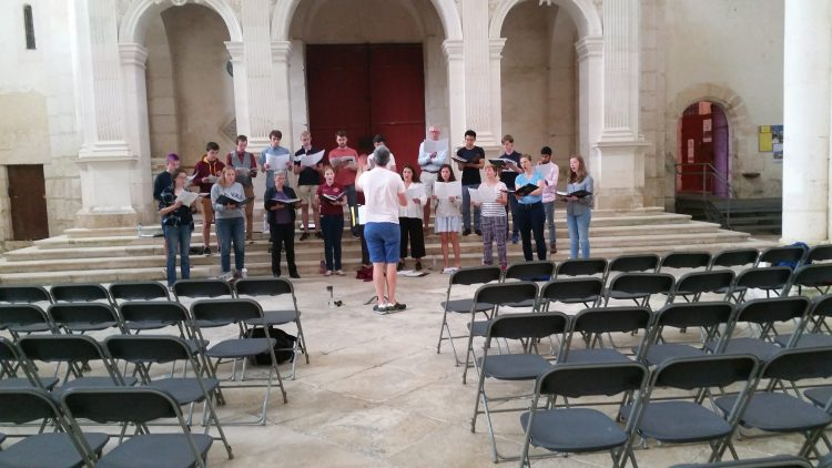 The Choir rehearsing in Pontigny Abbey