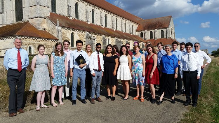 The Choir whilst on tour in France, outside Pontigny Abbey