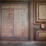 The war memorial panel in the Chapel at St Edmund Hall