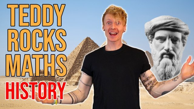 College Lecturer Tom Crawford stands in front of a picture of the pyramids and a bust of Pythagoras to announce the release of the fourth batch of the Teddy Rocks Maths Essays. Captioned 'History'