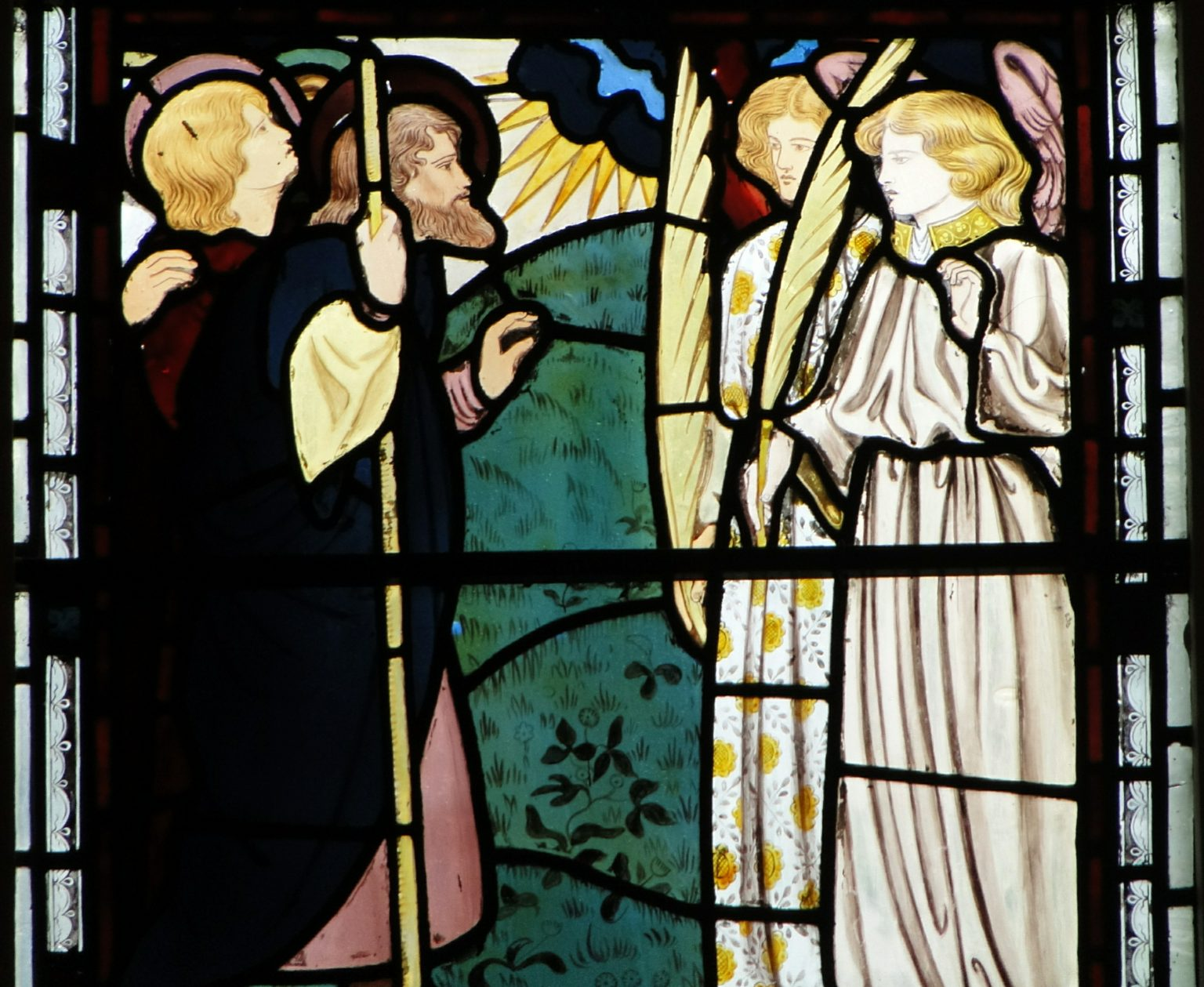 Jesus's ascension into Heaven, as depicted in the East Window of the College Chapel