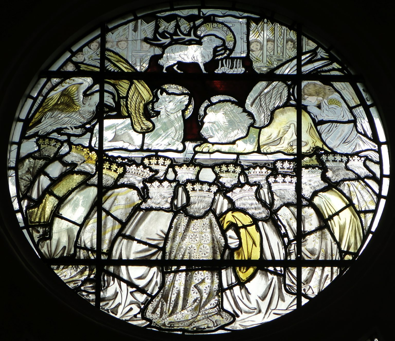 Central circular panel in the East Window of the College Chapel