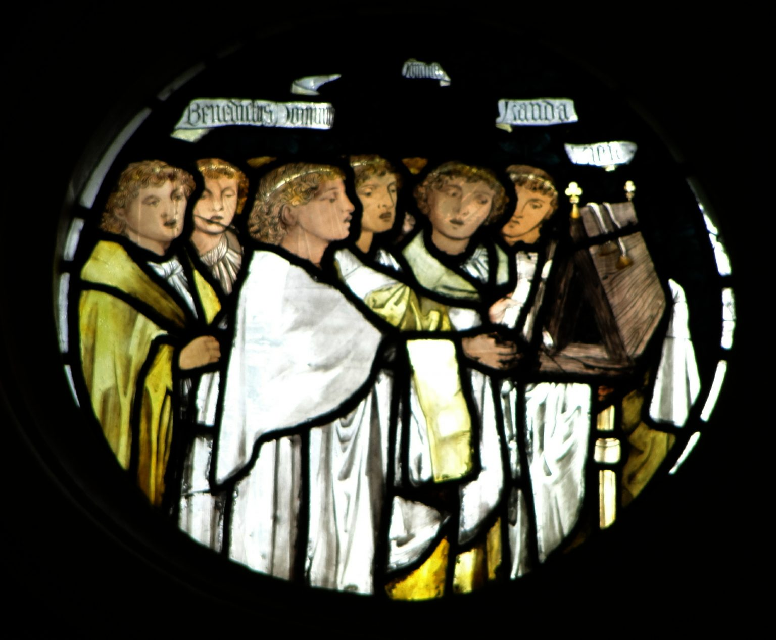 Left circular panel at the top of the East Window in the College Chapel