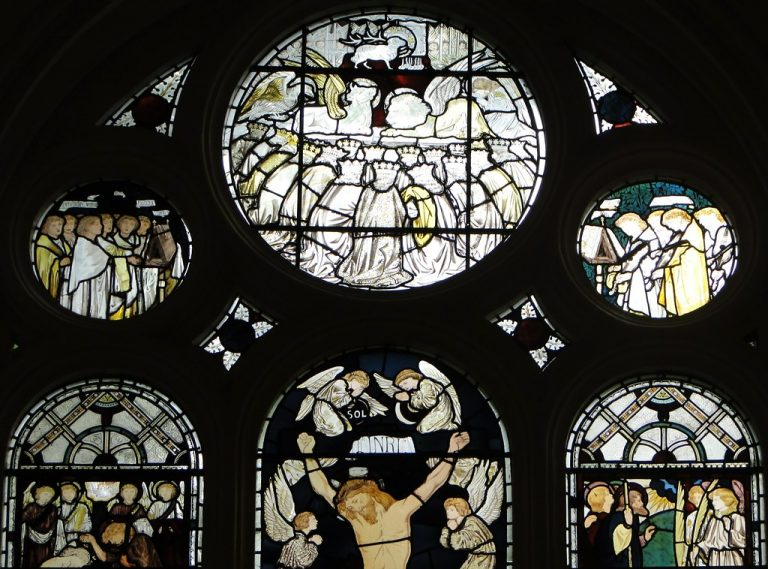 The top half of the Morris Window in the College Chapel