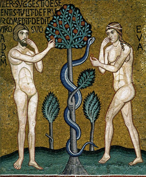 Adam and Eve with the tree of knowledge and the serpent