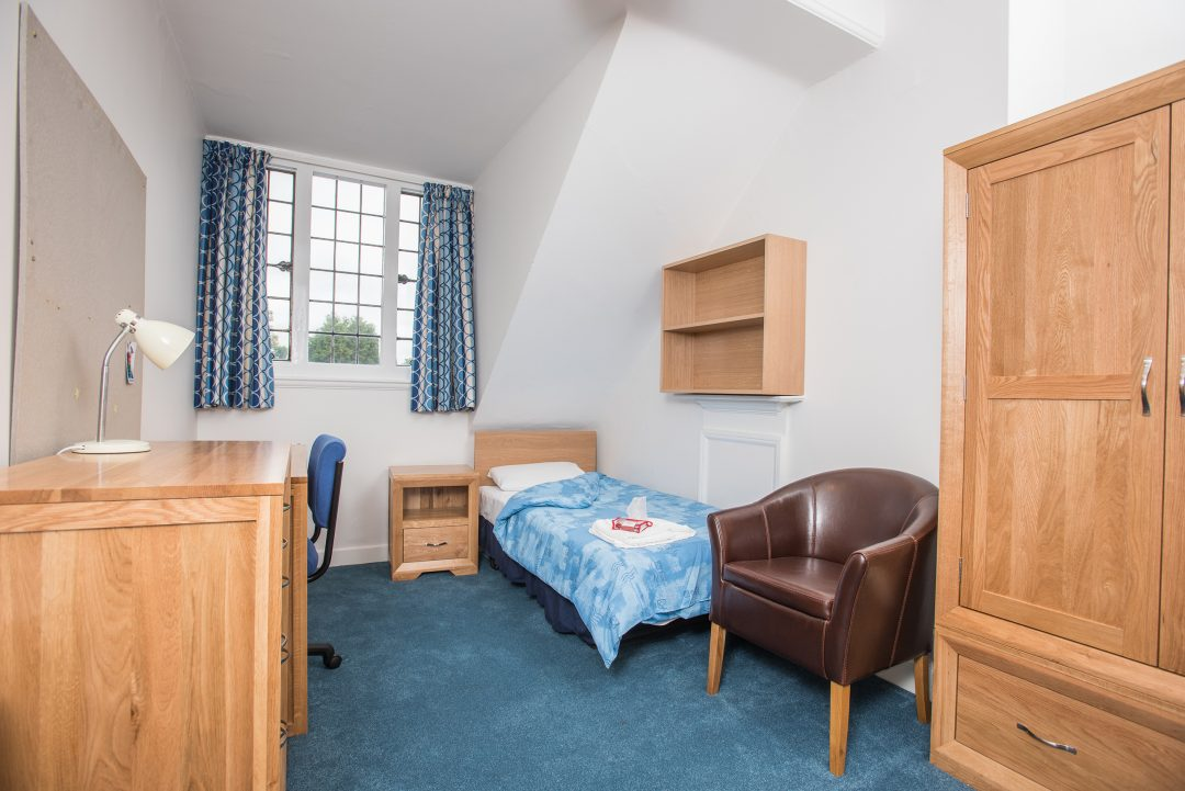 A guest room in the Besse Building on the College's main Queen's Lane site