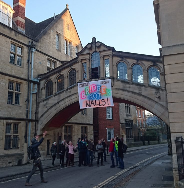 'Bridges not Walls' - a protest banner hung on Oxford's Bridge of Sighs