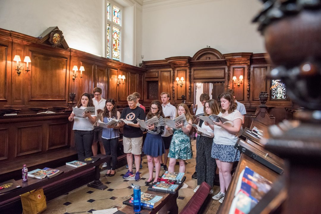 The Teddy Hall Chapel Choir rehearsing