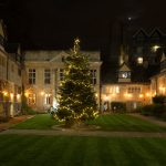 Christmas tree in the College's Front Quad