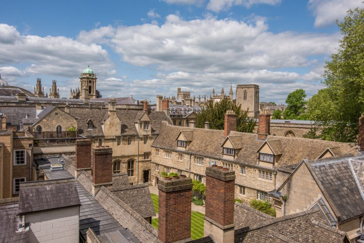 The College site viewed from above, with Oxford skyline in the background