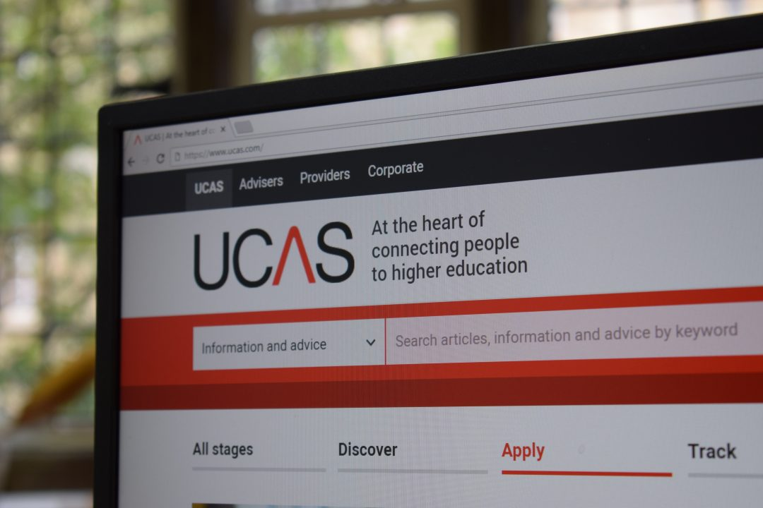 A computer screen with the UCAS website loaded