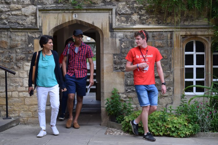 Student Helper Alex showing students round the College on an Open Day Tour