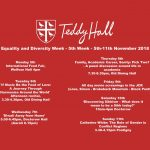 The schedule for Equality and Diversity Week at Teddy Hall, 2018