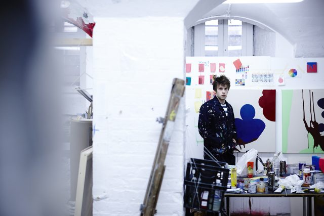 A student in his studio at the Ruskin School of Art
