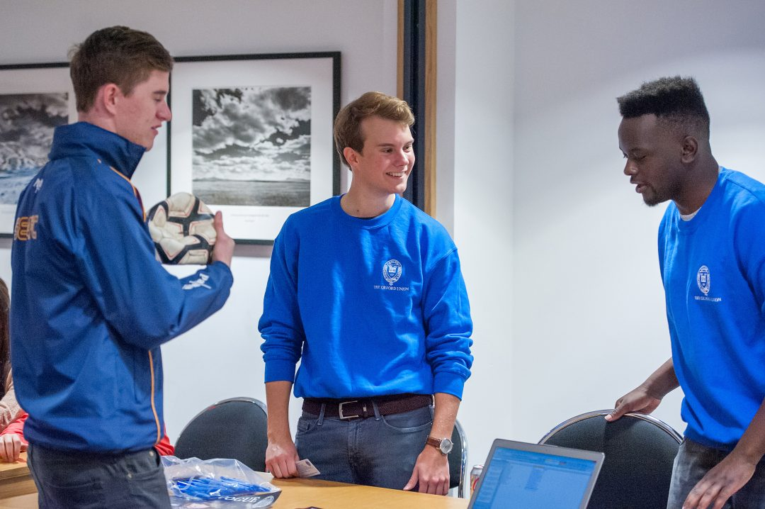 Students chatting at the College Freshers' Fair
