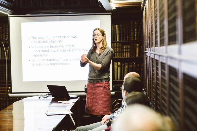 Heidi Johansen-Berg giving a short talk in the Old Library at the St Edmund Hall Research Expo