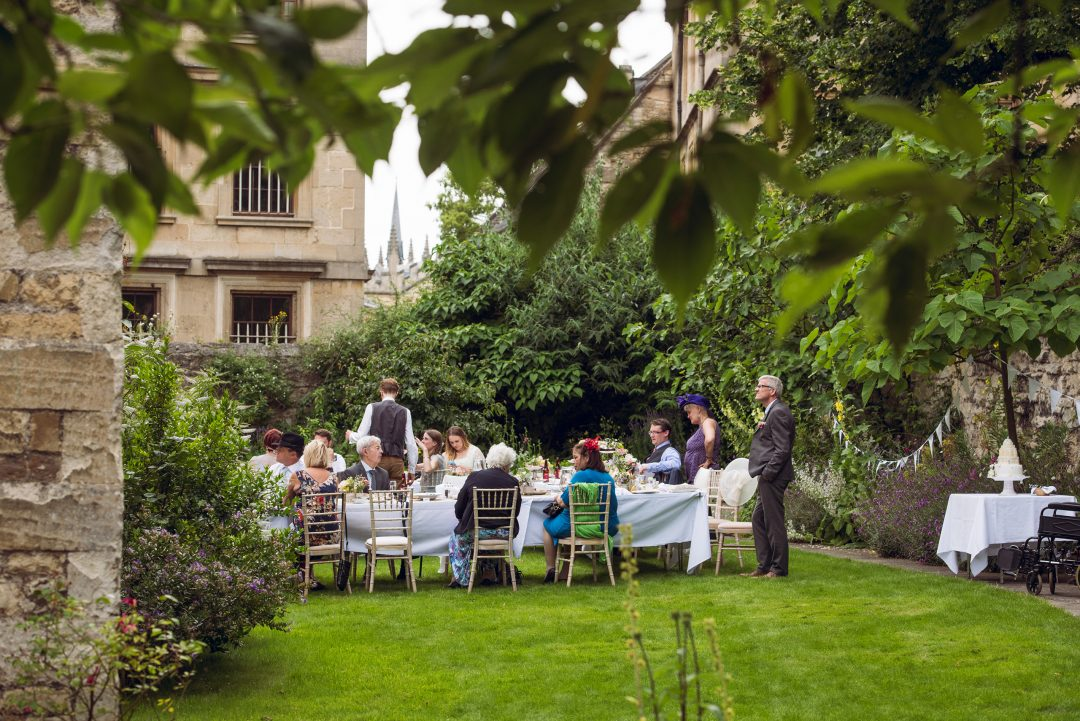 Wedding reception in the Broadbent Garden, photo by John Cairns