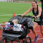Jessica Bruce, running with her two young children in a buggy