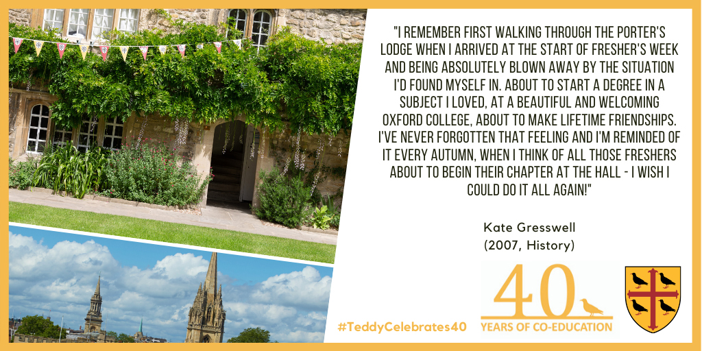 Kate Gresswell - quote about life at Teddy Hall