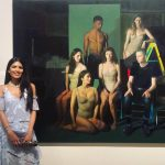 Khushna Sulaman-Butt with her painting, 'Society'