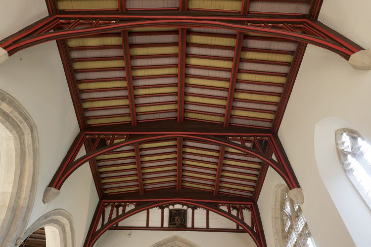 The ceiling of the Teddy Hall library