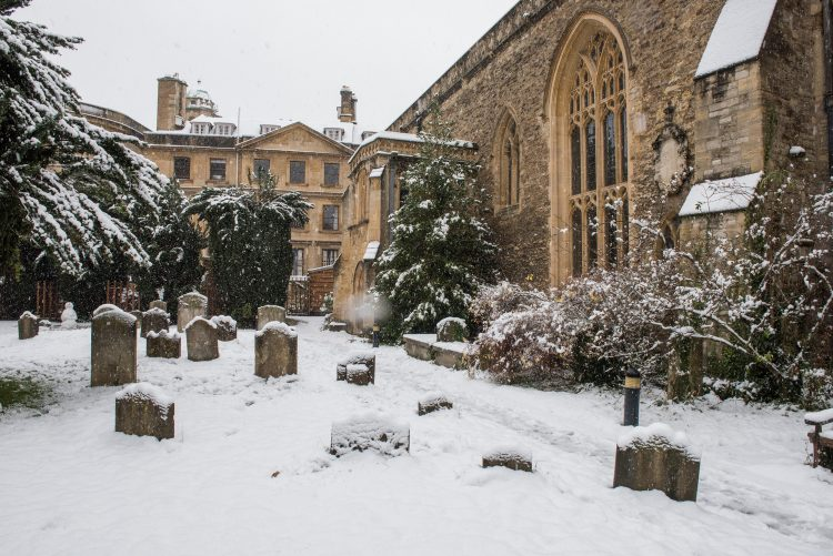 The College Library, the converted church of St Peter-in-the-East, in the snow