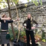 Linda Davies providing some longbow training for Helen Swift