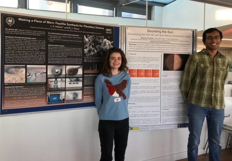 Lucy Kissick and Ben Fernando with their posters at the Oxford NERC DTP in Environmental Research student conference