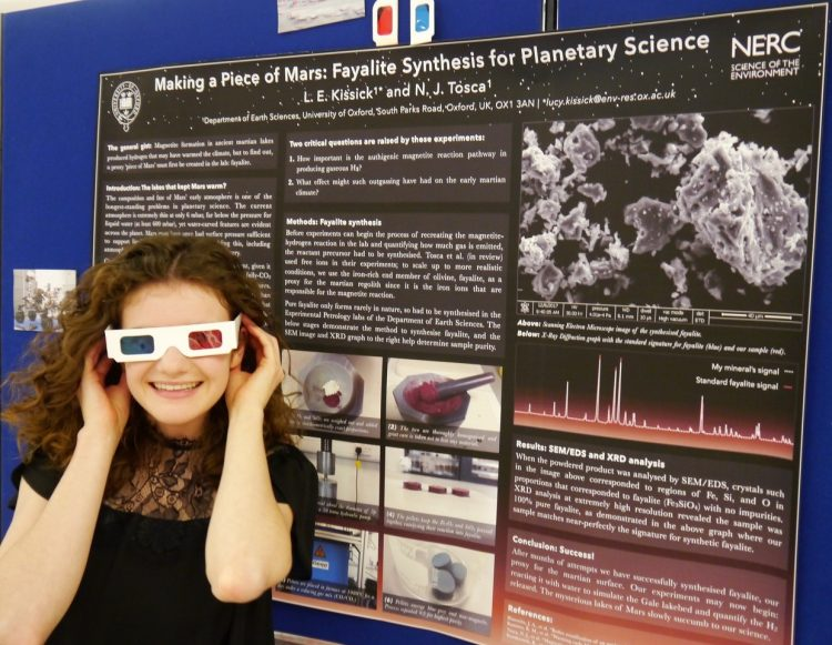 Postgraduate student Lucy Kissick with her research poster at the Oxford NERC DTP conference