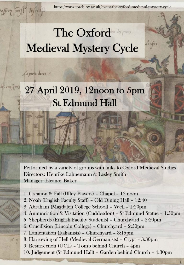 Poster for 2019's medieval mystery cycle at St Edmund Hall