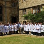 OXCEP Academic Medicine course participants 2018 in St Edmund Hall's Front Quad, with Prof Wilkins and Dr Hwang