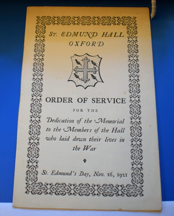 Order of Service for St Edmund's Day, 16 November 1921