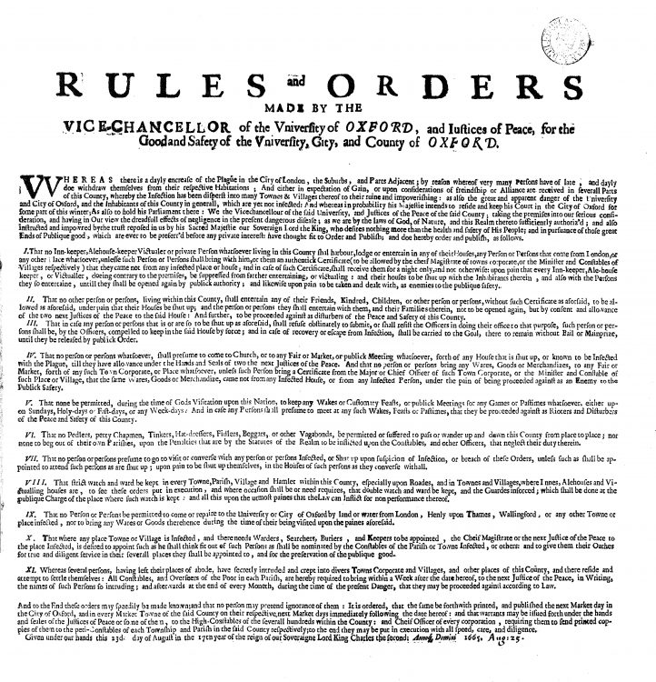 Rules and Orders during the plague in Oxford