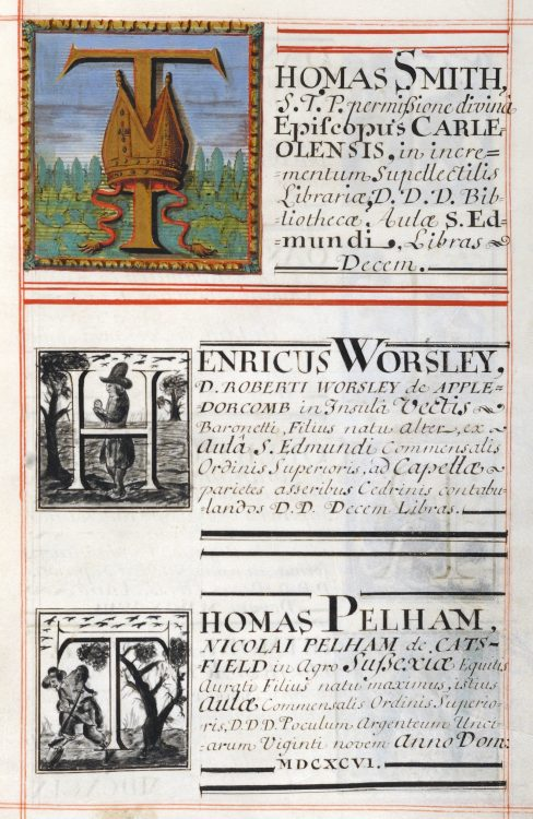 A page from one of St Edmund Hall's Benefactors' Books