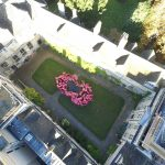 Members of the College community form a poppy shape in the Front Quad