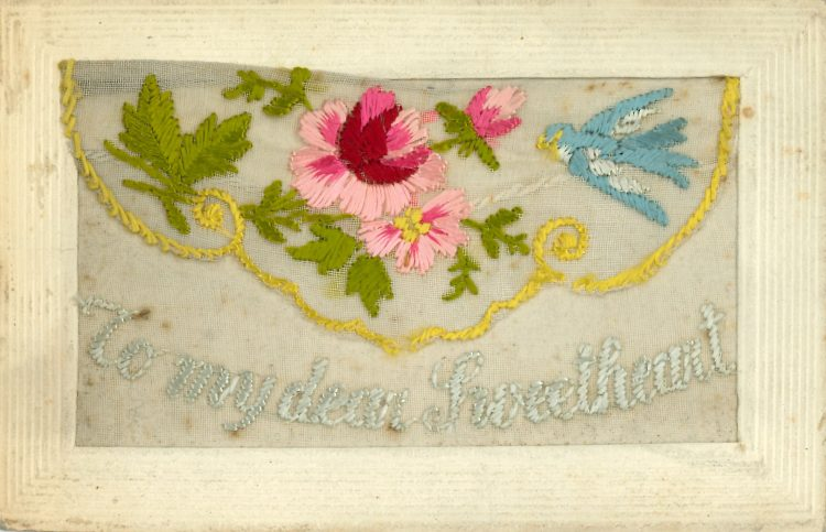 Embroidered card - 'To my dear sweetheart'