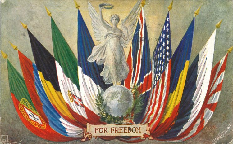 'For Freedom' wartime postcard