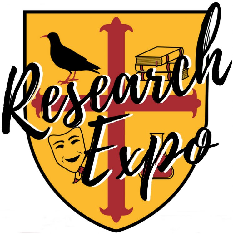 Logo for the Research Expo, based on the Teddy Hall crest