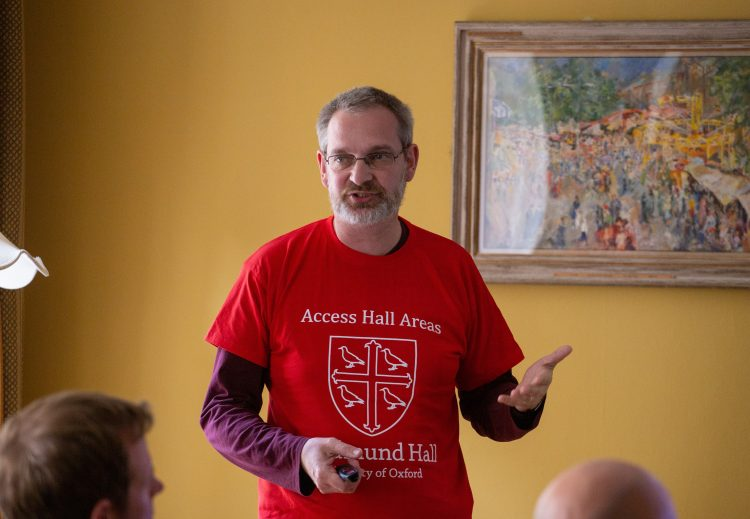 Rob Petre gives a Teddy Talk at Access Hall Areas