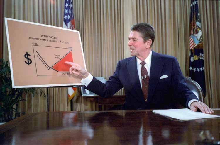Ronald Reagan televised address from the Oval Office, outlining plan for Tax Reduction Legislation July, 1981 - White House Photo Office; Originally uploaded to Wikipedia by Happyme22 [Public domain], via Wikimedia Commons