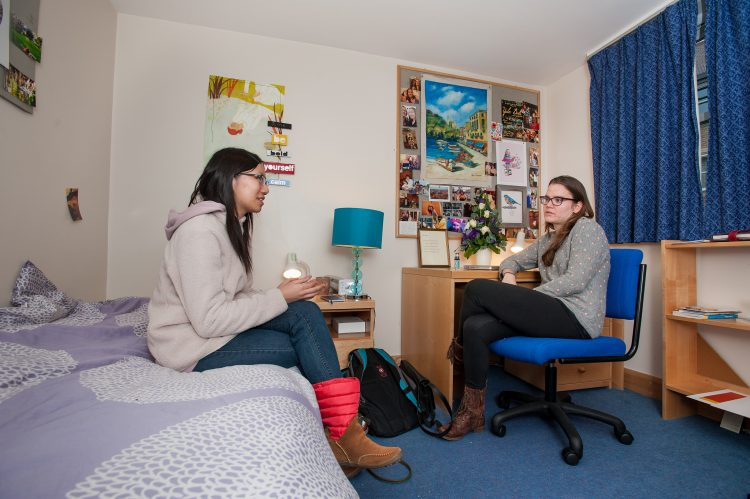 Visiting students in a room in the William R Miller Annexe
