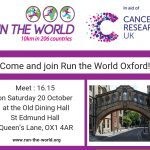 Poster to advertise the Run the World event in Oxford on Saturday 20 October 2018