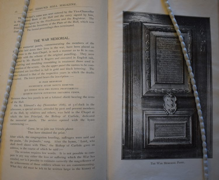 An article on the War Memorial in the Chapel, in the St Edmund Hall Magazine for 1920-21