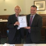 John Dunbabin (with Nick Thomas-Symonds) and his 'Lifetime Achievement Award' from the All Party Parliamentary Group on Archives and History