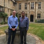 Dr Seifu Kebede-Gurmessa with Keith Gull in the Front Quad at St Edmund Hall