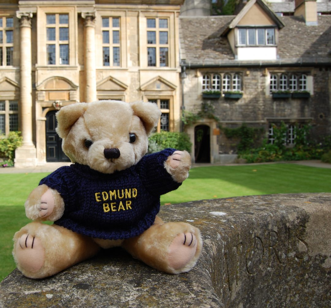 Edmund Bear on the well in the Front Quad