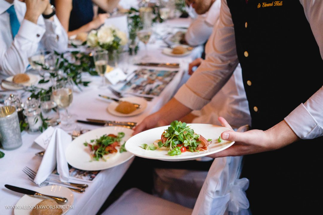 Food being served at a wedding at St Edmund Hall