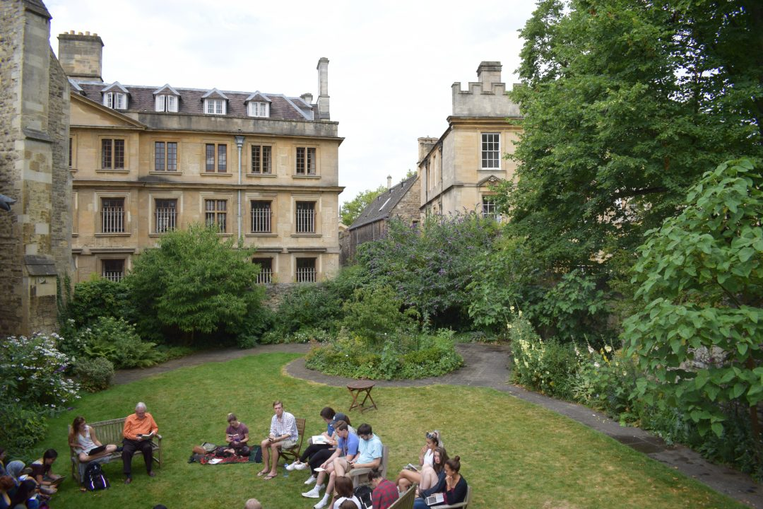 A summer school Shakespeare class taking place in the Broadbent Garden